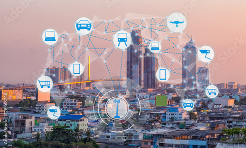 Fotografia  Internet of Things and Smart city concept