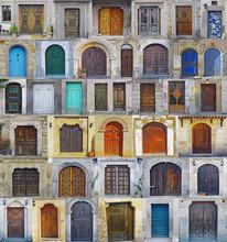 Collage Of Nevhesir Front Doors,Cappadocia , Turkey