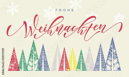 Text Frohe Weihnachten.Frohe Weihnachten Winter Holiday German Greeting Card Text