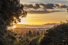 Panorama Golden Glow Sunset Of San Francisco Bay Looking Over East Bay Berkeley