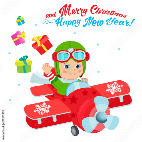 Poster Castle Christmas Santa Helper Boy Cartoon Character. Cute Boy Pilot Flies On A Airplane And Deliver Christmas Gifts. Design For New Year Holiday Theme. Boy Pilot Costume. Baby Boy Pilot Hat.