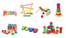 A Collection Of Colorful Wooden Toys For Kids