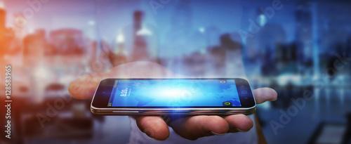 Fototapeta Businessman using modern mobile phone obraz