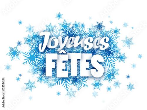 Fototapeta Carte JOYEUSES FETES avec flocons de neige