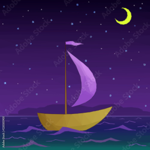 Spoed Foto op Canvas Violet Ship Floats under Sail in the Moonlight Night Sea, Low Poly. Vector