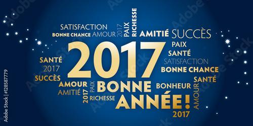 Carte de voeux – bonne année 2017 - bleu et dorée. Poster