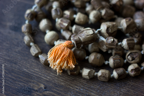 Photo  Japa mala rosary - hinduism and buddism rosary made from tulsi tree for hare kri