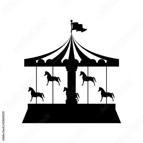 silhouette merry Go Round with horses vector illustration Fototapet