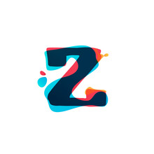 Z Letter Logo With Colorful Watercolor Splashes.