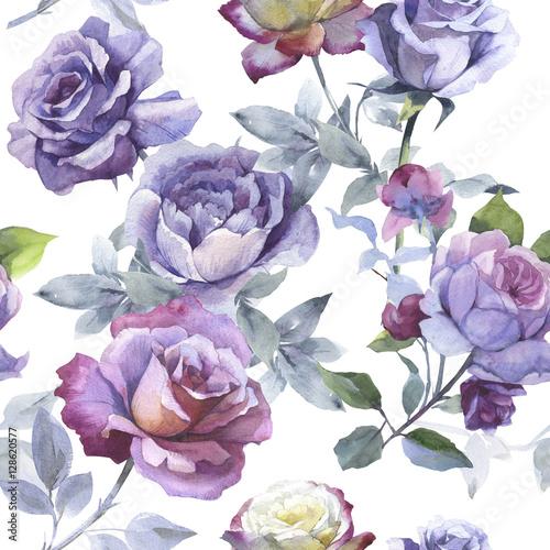Wildflower kwiat róży wzór w stylu przypominającym akwarele na białym tle.