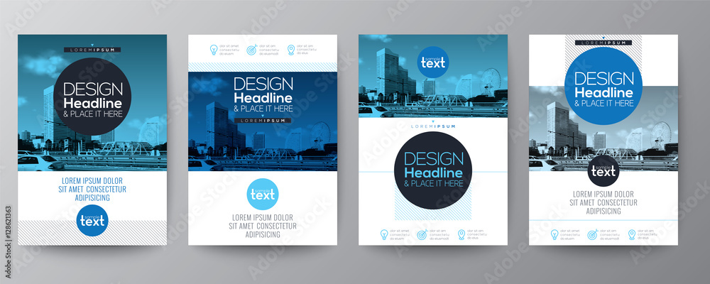 Fototapety, obrazy: collection of poster flyer brochure cover layout design template with blue circle shape graphic elements and space for photo background