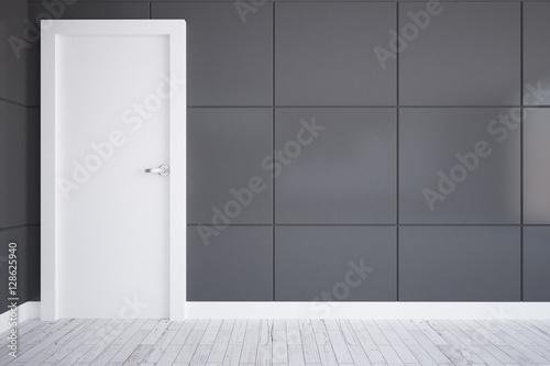 Fotografie, Obraz  Grey room with white door