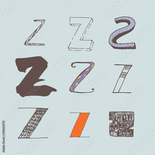 Vector set of colorful alphabet letters Z, isolated on light