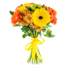 Bouquet Of Flowers Gerbera And Chrysanthemum, Isolated On White