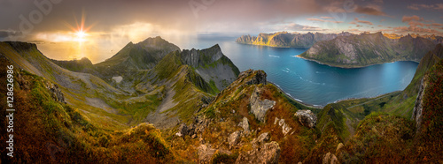 Poster Northern Europe Panoramic View from Husfjellet Mountain on Senja Island during Sunset, Norway