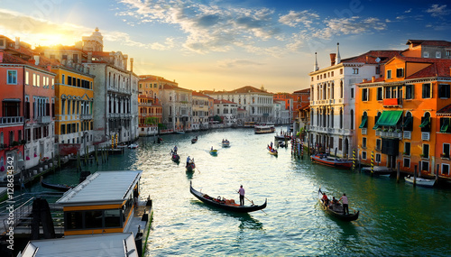 Stickers pour porte Venise Grand Canal at sunset