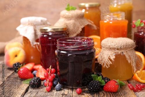 Photo  various jar of jam