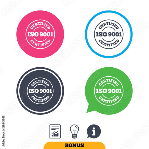 ISO 9001 Certified Sign Icon Certification Stamp Report Document Information And Light