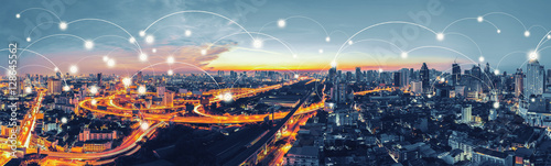 canvas print motiv - tawanlubfah : Network and Connection technology concept with Bangkok Expresswa