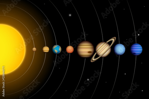 Vector Solar System With Planets Diagram Buy This Stock Vector