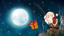 Santa Claus Pescando En Navidad