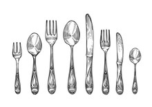 Cutlery Set Spoons, Forks And Knifes, Top View. Sketch Vector Illustration