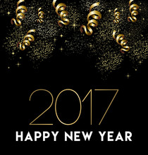 Happy New Year 2017 Gold Party Decoration Card