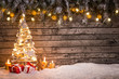 canvas print picture - Christmas decoration on wooden background