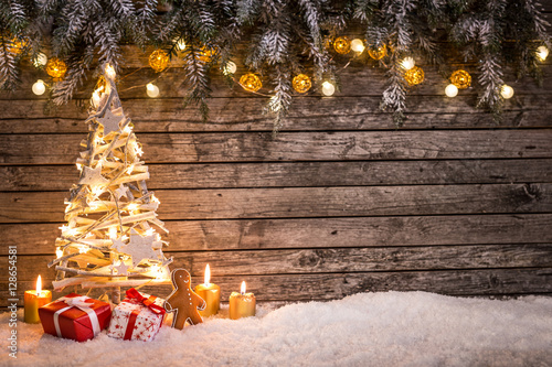 Photo  Christmas decoration on wooden background