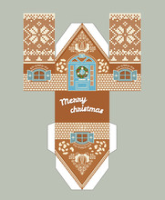 Printable Gift Gingerbread House With Christmas Glaze Elements. New Year Decor Template 3 D .