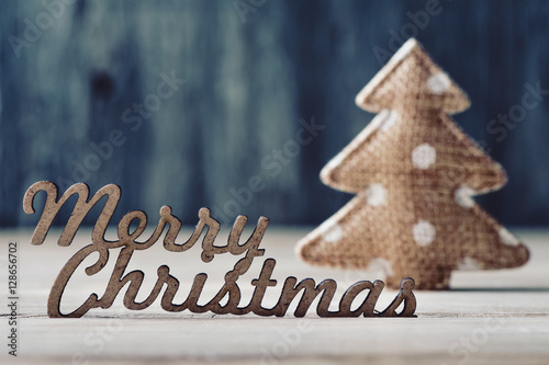 text merry christmas and christmas tree Poster
