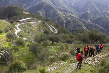 Group Of Hikers Along The Edward Lear Path, Reggio Calabria, Calabria, Italy