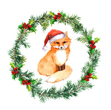 Christmas Wreath With Fox Animal In Red Santa Hat.  Watercolor