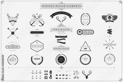 Foto Vintage vector design elements Retro style labels,Vintage lebels