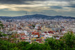 Evening view on Barcelona city and Montserrat mountain, Spain