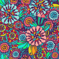 Flowers doodle - hand drawn vector seamless pattern. Sketched flowers, leaves and blossoms illustration for fabric, wallpaper or wrapping paper