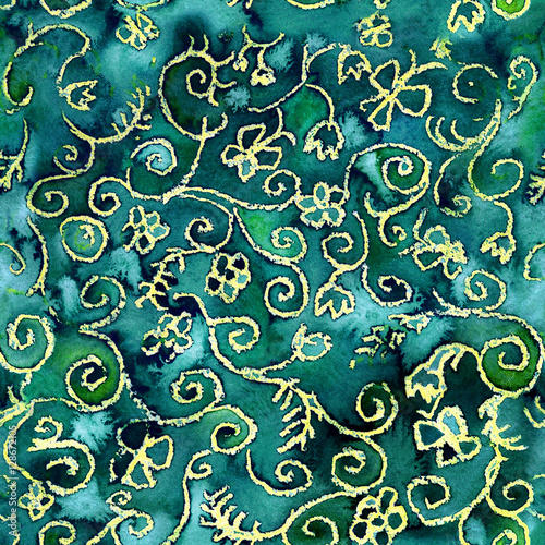 Watercolor Seamless Abstract Floral Pattern Hand Painted Green Brocade Texture With Emerald Color