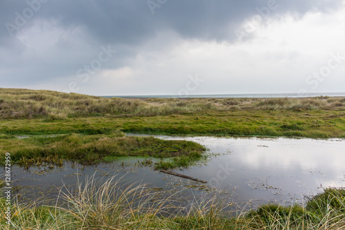 Spoed Foto op Canvas Noordzee Water Reflections on a Sand Dune Lake