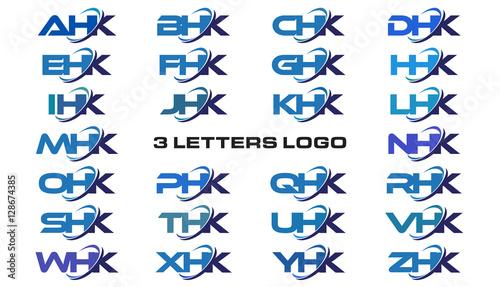 3 letters modern generic swoosh logo AHK, BHK, CHK, DHK, EHK