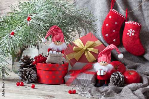 Christmas gifts in boxes and gnome Wallpaper Mural