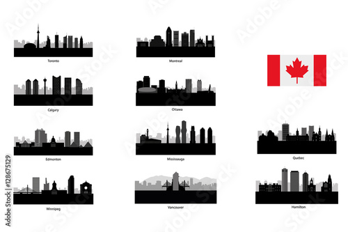 Photo City skyline set. Canada. Vector silhouette illustration.
