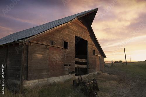 Wood A beautiful old barn at sunset