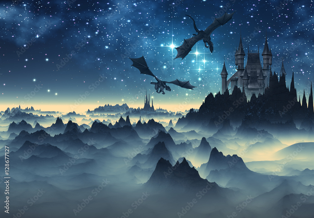 Fototapety, obrazy: 3D Created and Rendered fantasy Landscape with Dragons and a Castle