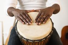 Musician Playing Drum.