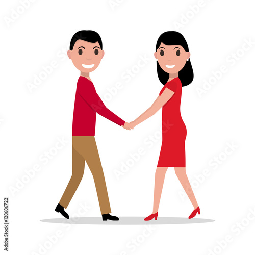 Fototapety, obrazy: Vector illustration of a cartoon couple in love