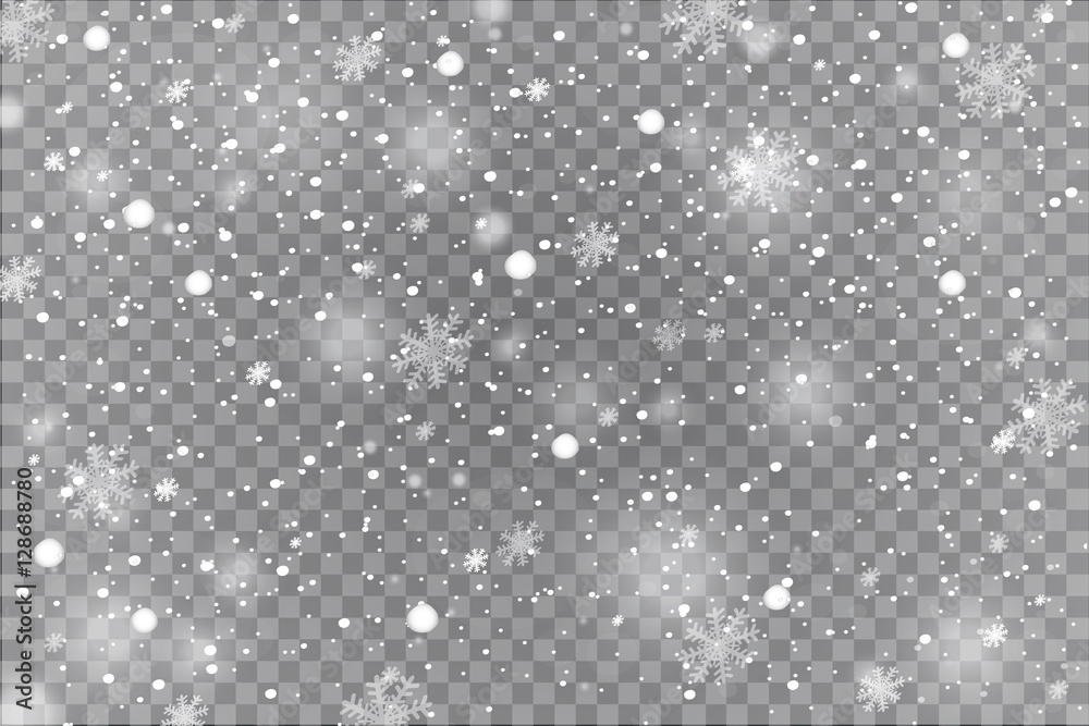 Fototapety, obrazy: Winter with snow in transparent background
