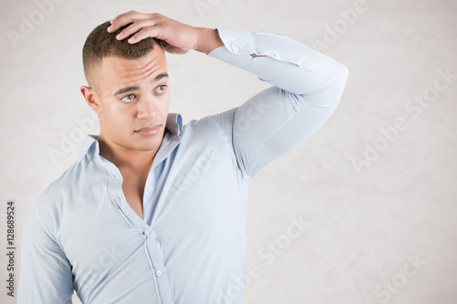 Fényképezés  Man Checking Hair