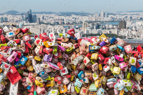 Canvas Prints Seoul colourful love locks at Seoul Tower with Seoul skyline in background