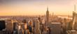 New York City skyline panorama at sunset