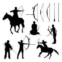 Archer Silhouette Archery With Riding Horse Vector Set